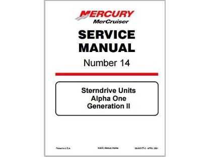 Picture of Mercruiser Alpha One Gen 2 Service Manual, Part Number 90-8M0065951