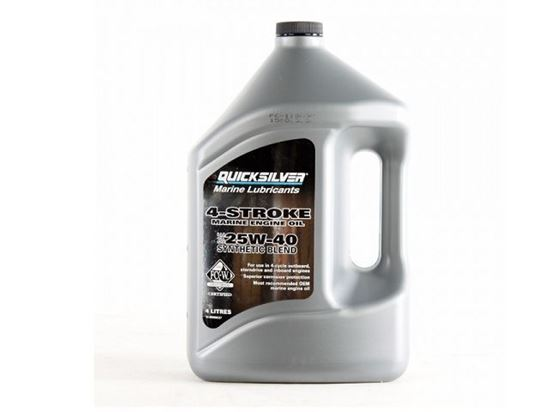 Picture of Quicksilver 4 stroke Synthetic Engine Oil 25W40 4 Litres Part Number 92-8M0086227