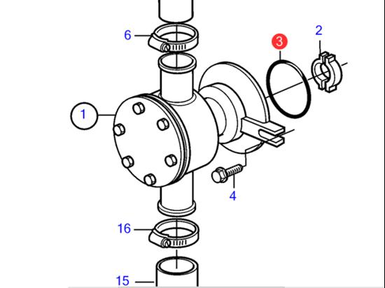 Volvo Penta seawater pump to block O-Ring, Part Number 968971