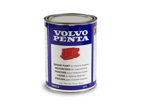 Volvo Penta Engine Touch Up Paint in red, 1 litre, Part Number 3808216
