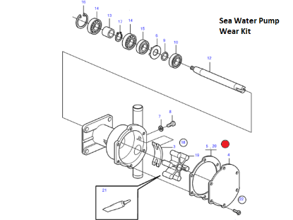 Volvo Penta seawater wear kit, Part Number 21951370