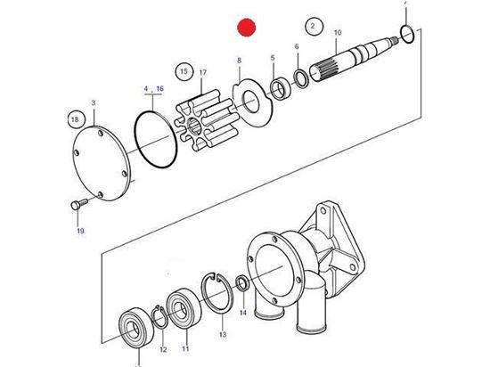 Volvo Penta Seawater pump wear kit, Part Number 21951374