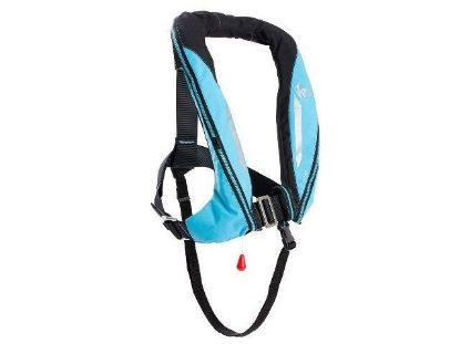 Picture of KRU Sport, Auto with Harness Lifejacket in Carbon and Sky Blue,  LIF7345