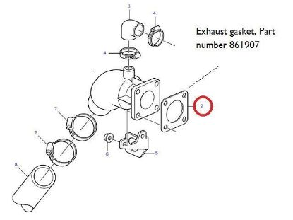 Picture of Volvo Penta D1, D2 and MD Series Exhaust Elbow Gasket, Part Number 861907