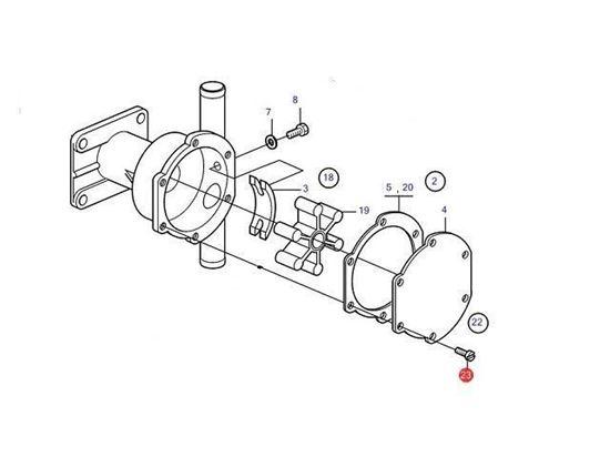 Volvo Penta seawater pump screw kit, Part Number 21951302