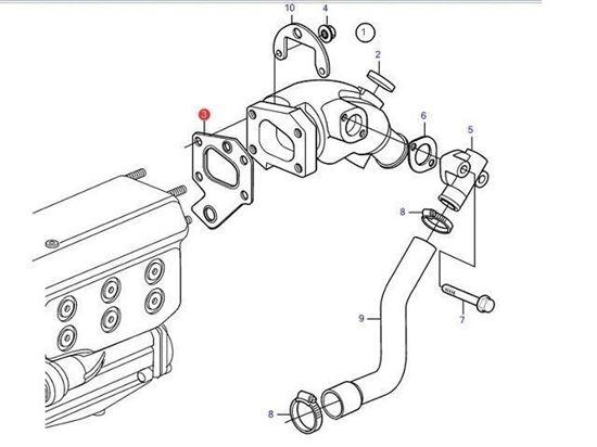 Volvo Penta D2-55, D2-50, D2-60 Exhaust Elbow Gasket, Part Number 888596