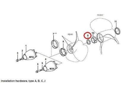 Volvo Penta 280-DP, 290-DP, DP-A, DP-B, DP-C, DP-D, DP-E, DP-G  thrust ring, Part Number 3858458
