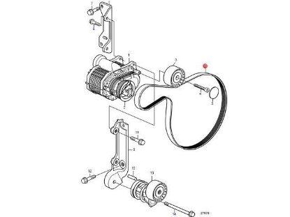 Volvo Penta Compressor Drive Belt for D4 and D6 engines, Part Number 21407026