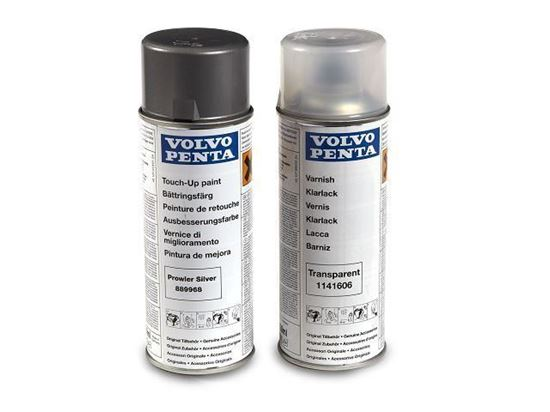 Volvo Penta spray paint in silver plus clear varnish for DP-H, DP-R, SX-A Strerndrives, Part Number 889968
