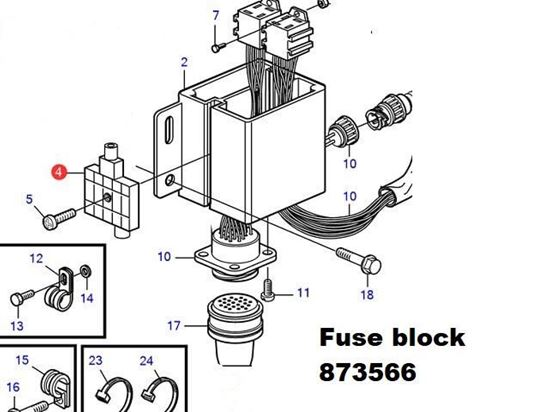 Volvo Penta fuse block, Part Number 873566