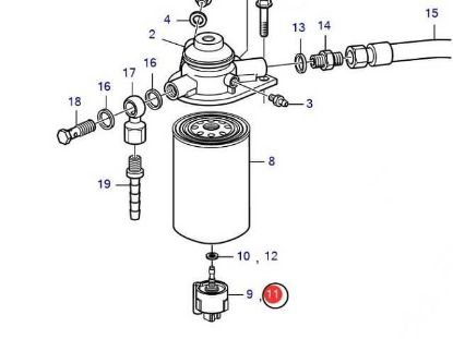 Volvo Penta fuel filter sensor for D3, D4 D6, Part Number 3808616