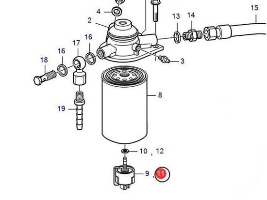 Volvo Penta fuel filter sensor for D3, D4 D6, Part Number 3808616