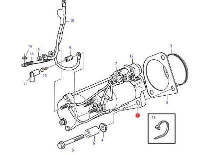 Volvo Penta D6, D4 starter motor, Part Number 21423488