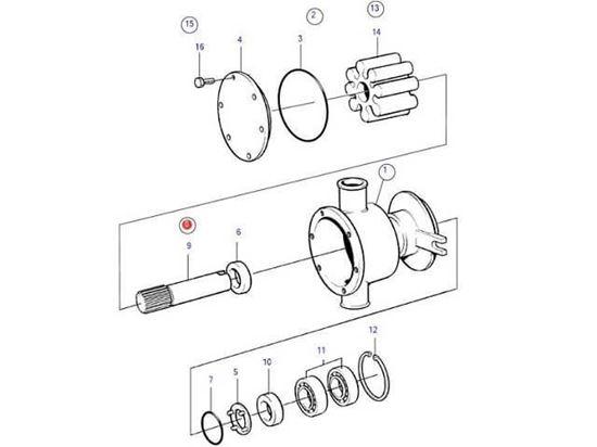 Volvo Penta seawater pump shaft kit, Part Number 21951457