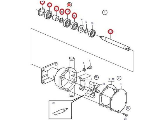Volvo Penta seawater pump shaft kit, Part Number 21951416