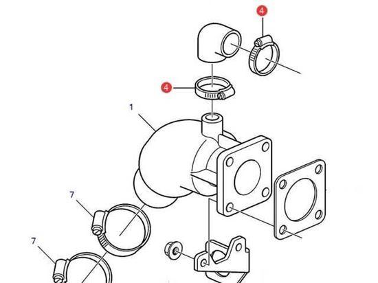 Volvo Penta D1-30, D2-40 Exhaust Hose Clamp, Part Number 994557