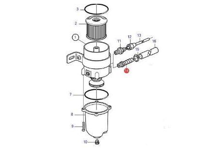 Volvo Penta Racor type diesel water separator hose connector, Part Number 3825000