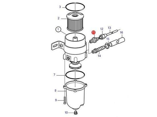 Volvo Penta Racor type diesel water separator copper hose connector, Part Number 954337
