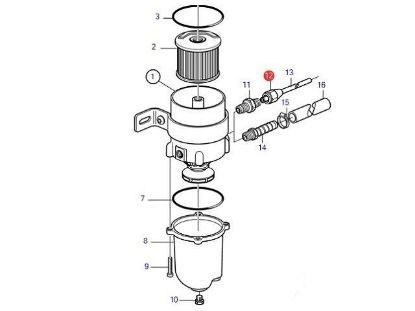 Volvo Penta Racor type diesel water separator copper union, Part Number 954323