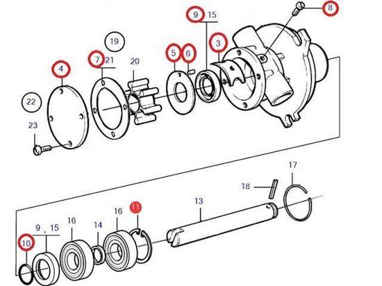 Volvo Penta Seawater pump wear kit, Part Number 21951368