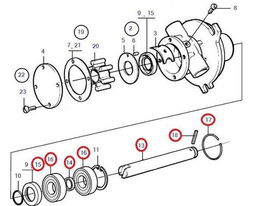 Volvo Penta Seawater pump shaft kit, Part Number 21951414