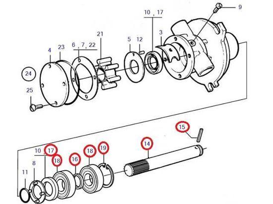 Volvo Penta Seawater pump shaft kit, Part Number 21951431