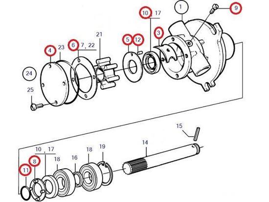 Volvo Penta Seawater pump wear kit, Part Number 21951376