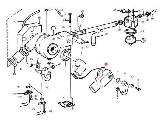 Volvo Penta 2003T Exhaust Elbow, Part Number 840930