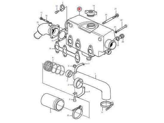 Volvo Penta MD2030-C MD2030-D, Heat Exchanger housing, Part Number 3581926