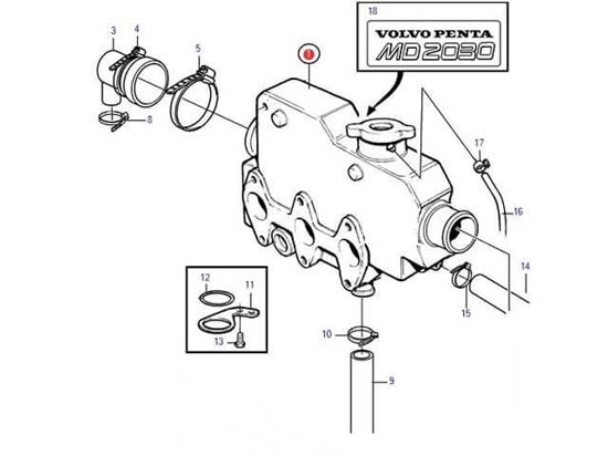 Volvo Penta MD2030, MD2030-B, Heat Exchanger housing, Part Number 3580736