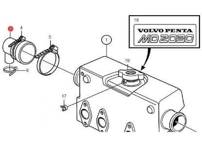 Volvo Penta MD2030-C, MD2030-D end cap, Part Number 861920