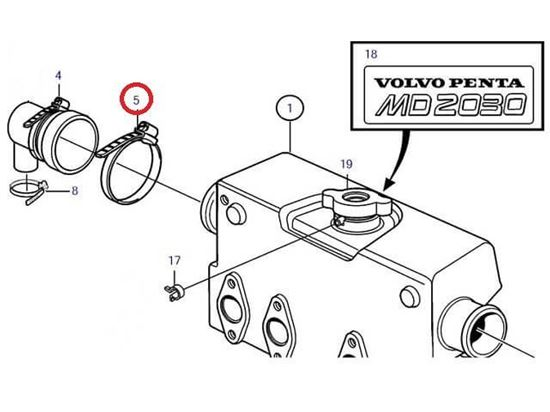 Volvo Penta MD2030-C and MD2030-D end cap jubilee, Part Number 961673