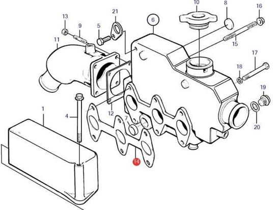 Volvo Penta MD2030 Heat Exchanger Manifold Gasket, Part Number 3580323