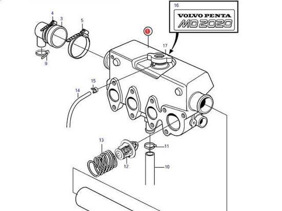 Volvo Penta MD2020-C, MD2020-D Heat Exchanger housing, Part Number 3581925