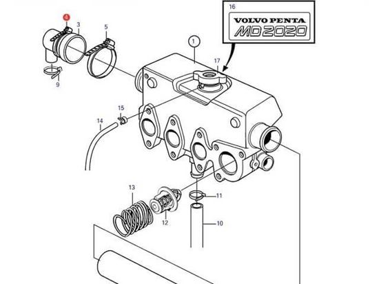 Volvo Penta MD2020-C and MD2020-D end cap jubilee, Part Number 961672