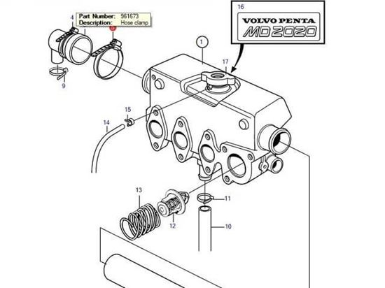 Volvo Penta MD2020-C and MD2020-D end cap jubilee, Part Number 961673