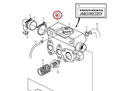 Volvo Penta MD2010-C, MD2010-D Heat Exchanger housing, Part Number 3581924
