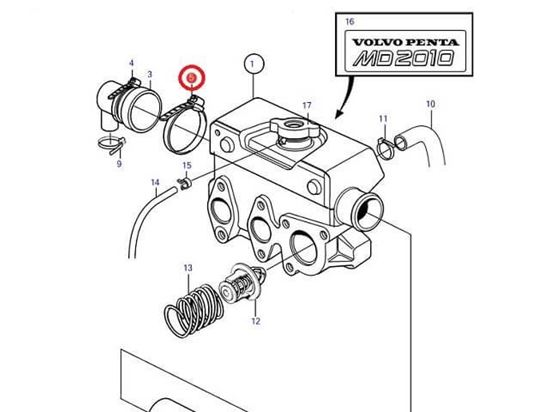 Volvo Penta MD2010-C and MD2010-D end cap jubilee, Part Number 961673