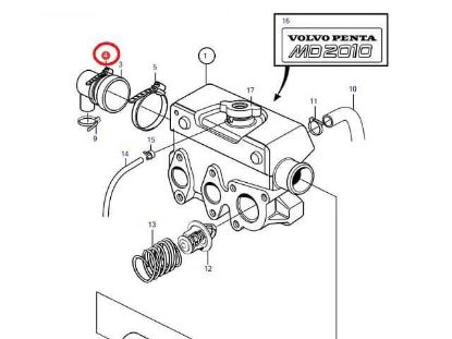 Volvo Penta MD20110-C and MD2010-D end cap jubilee, Part Number 961672