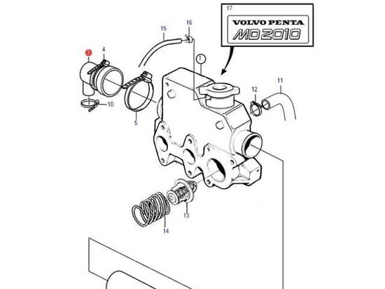 Volvo Penta MD2010, MD2010A, MD2010B end cap, Part Number 861920
