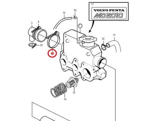Volvo Penta MD2010, MD2010A, MD2010B end cap Jubilee, Part Number 961673