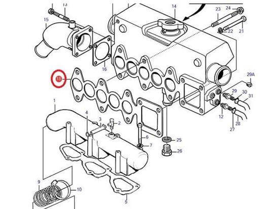Volvo Penta MD2040 Heat Exchanger Manifold Gasket, Part Number 3580512