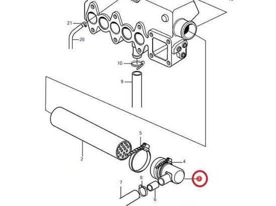 Volvo Penta MD2040 heat exchanger end cap, Part Number 3580522