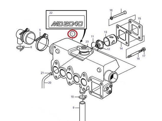 Volvo Penta MD2040 heat exchanger housing, Part Number 3581927