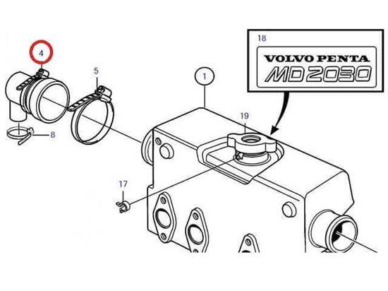 Volvo Penta MD2030-C, MD2030-D end cap jubilee, Part Number 961672