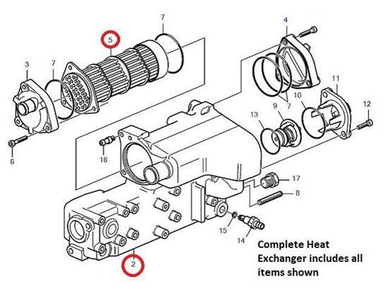 Volvo Penta D1-30 heat exchanger, Part Number 22850982