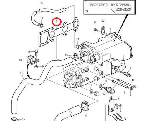 Volvo Penta D1-30 manifold gasket, Part Number 3812402